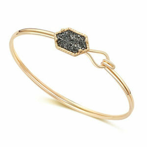 Jewelry - Grey Druzy Golden Bangle Bracelet